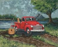 Red Truck Fishing Buddy Fine-Art Print