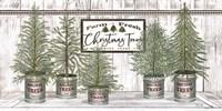 Galvanized Pots White Christmas Trees II Fine-Art Print