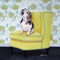 Beagle on Yellow Fine-Art Print