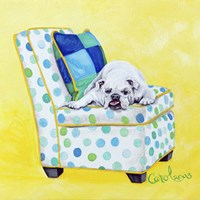 Bulldog on Polka Dots Fine-Art Print