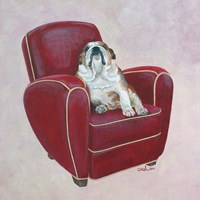 Bulldog on Red Fine-Art Print