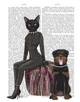 Black Cat and Rottweiler Book Print Fine-Art Print