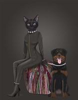 Black Cat and Rottweiler Fine-Art Print