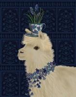 Llama Teacup and Blue Flowers Fine-Art Print