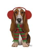 Christmas Des - Basset Hound and Ear Muffs Fine-Art Print
