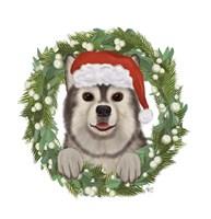 Christmas Des - Husky Wreath Fine-Art Print