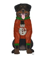 Christmas Des - Rottweiler in Christmas Sweater Fine-Art Print