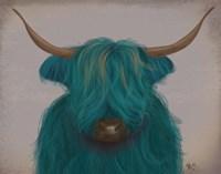 Highland Cow 3, Turquoise, Portrait Fine-Art Print