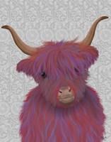 Highland Cow 7, Pink And Purple, Portrait Fine-Art Print