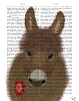 Donkey Red Flower Book Print Fine-Art Print