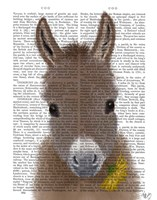 Donkey Yellow Flower Book Print Fine-Art Print