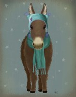 Donkey Blue Hat and Scarf Fine-Art Print
