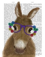 Donkey Purple Flower Glasses Book Print Fine-Art Print