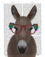 Donkey Red Flower Glasses Book Print Fine-Art Print