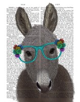Donkey Turquoise Flower Glasses Book Print Fine-Art Print