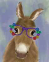 Donkey Purple Flower Glasses Fine-Art Print