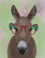 Donkey Red Flower Glasses Fine-Art Print