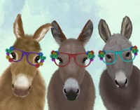 Donkey Trio Flower Glasses Fine-Art Print