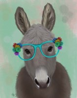 Donkey Turquoise Flower Glasses Fine-Art Print