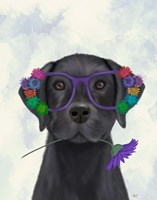 Black Labrador and Flower Glasses Fine-Art Print
