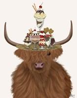 Highland Cow and Ice Cream Hat Fine-Art Print