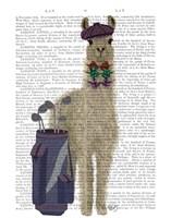 Llama Golfing Book Print Fine-Art Print