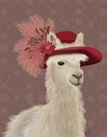 Llama Red Feather Hat Fine-Art Print