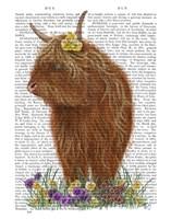 Highland Cow, Pansy Book Print Fine-Art Print