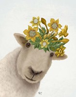 Sheep with Daffodil Crown Fine-Art Print