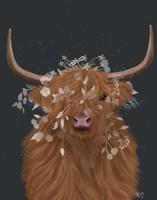 Highland Cow 1, White Flowers Fine-Art Print