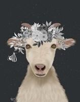 Goat 1, White Flowers Fine-Art Print