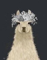 Llama White Flowers Fine-Art Print
