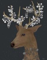 Deer, White Flowers Fine-Art Print