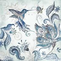Watercolor Boho Blue Hummingbird I Fine-Art Print