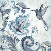 Watercolor Boho Blue Hummingbird II Fine-Art Print