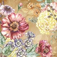 Wildflower Medley Square Gold I Fine-Art Print