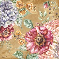 Wildflower Medley Square Gold II Fine-Art Print