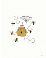 Bees and Botanicals II Fine-Art Print