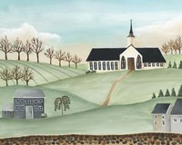 Folk Church Scene II Fine-Art Print