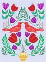 Folk Bird III Fine-Art Print