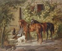 Horses at the Porch, 1843 Fine-Art Print