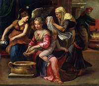 The Child's Bath, 16th century Fine-Art Print
