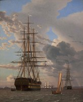The Russian Ship of the Line Azov and a Frigate at Anchor in the Roads of Elsinore, 1828 Fine-Art Print