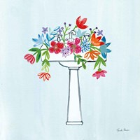 Floral Bathroom II Light Blue Fine-Art Print