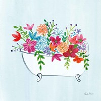 Floral Bathroom I Light Blue Fine-Art Print