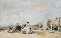 Lady in White on the Beach at Trouville Fine-Art Print