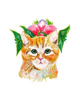 Cat with Flower Crown Fine-Art Print
