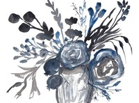 Blue Roses in Grey Vase Fine-Art Print