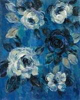 Loose Flowers on Blue II Fine-Art Print