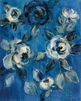 Loose Flowers on Blue I Fine-Art Print